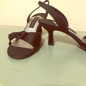 """Black satin bow detail sandals with 2"""" heel"""